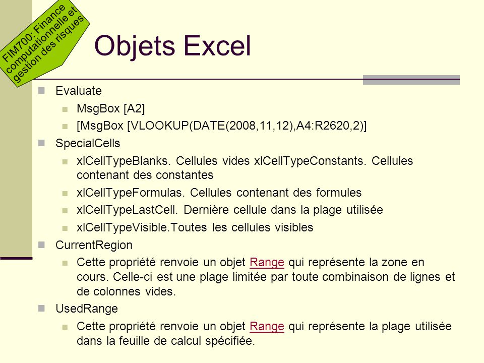 Objets Excel Evaluate MsgBox [A2]